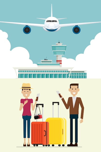 Aereo agli arrivi dell'aeroporto e la gente equipaggiano e donne con le valigie, illustrazione di vettore Vettore Premium