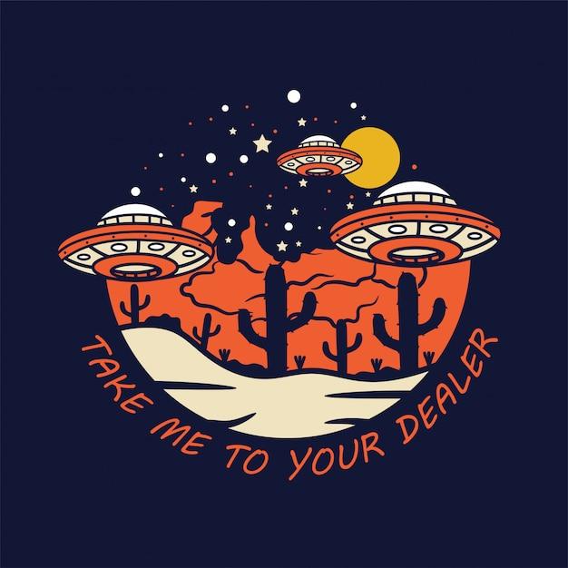 Aereo alieno arriva sulla terra Vettore Premium