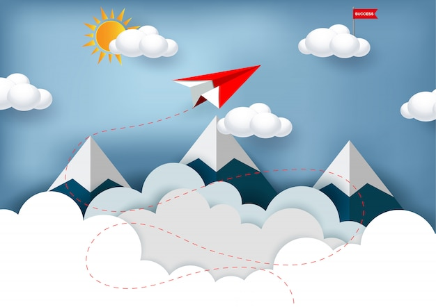 Aereo di carta rosso che vola verso l'obiettivo bandiera rossa sulla nuvola Vettore Premium