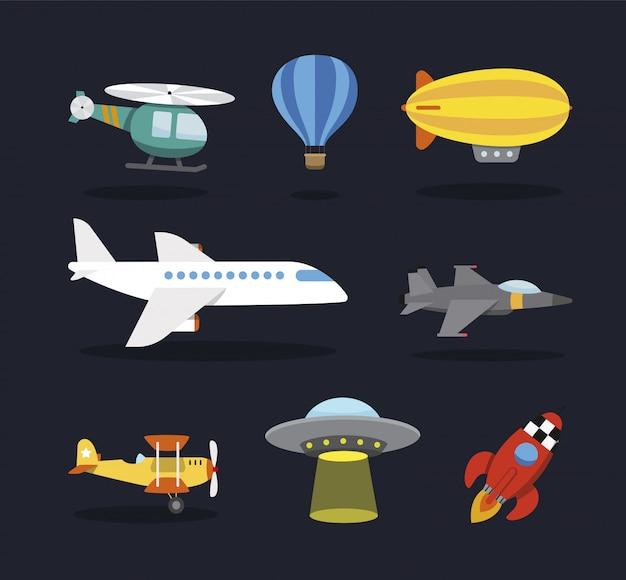 Aereo di linea, aereo, elicottero, dirigibile, caccia bombardiere, ufo, razzo spaziale. stile cartoon, per bambini Vettore Premium