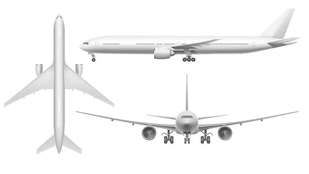 Aereo realistico. vista dell'aereo dell'aereo che atterra sulla pista o sul volo. aeroplano bianco 3d isolato Vettore Premium