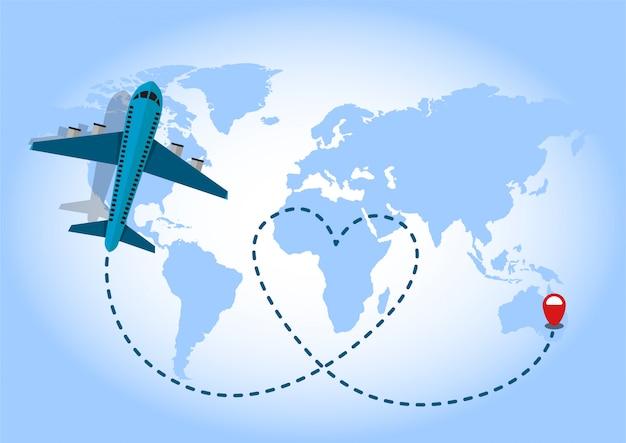 Aeroplano che vola in sfondo blu mappa del mondo. concetto di amore itinerante. Vettore Premium