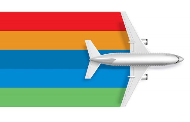 Aeroplano con arcobaleno bianco per il testo del messaggio Vettore gratuito