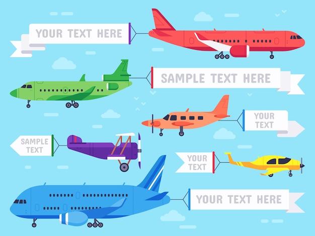 Aeroplano con banner. volo annuncio aereo, banner di aeromobili aeronautici e aereo aereo annunci pubblicitari illustrazione Vettore Premium