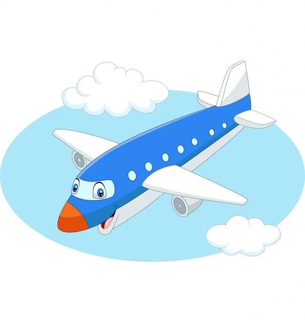 Aeroplano di cartone animato che vola nel cielo Vettore Premium