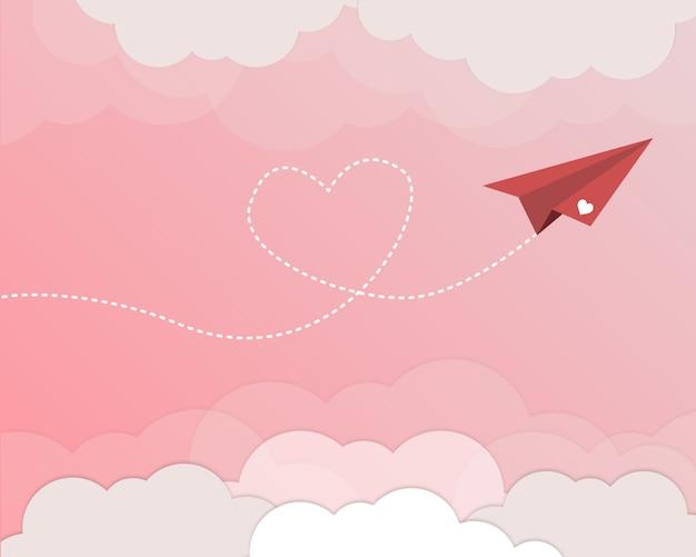Aeroplano grazioso per il fondo di san valentino Vettore Premium