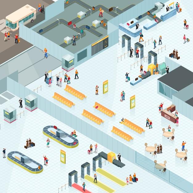 Aeroporto di design isometrico Vettore gratuito