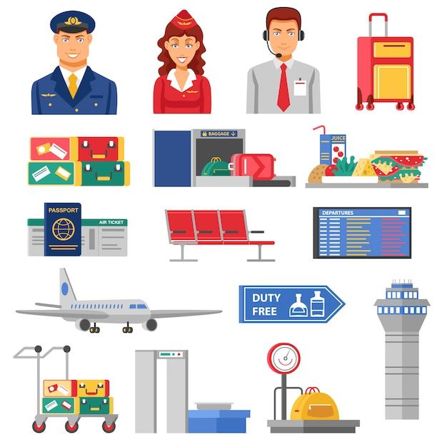 Aeroporto icon set Vettore gratuito