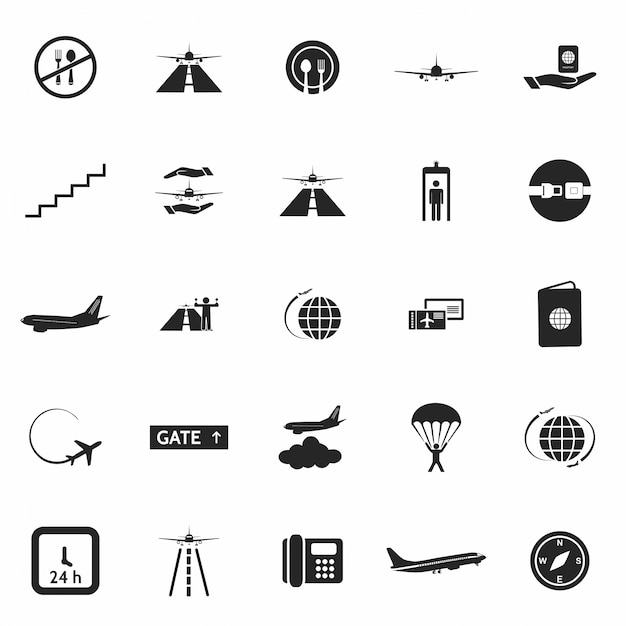 Aeroporto set di icone Vettore gratuito