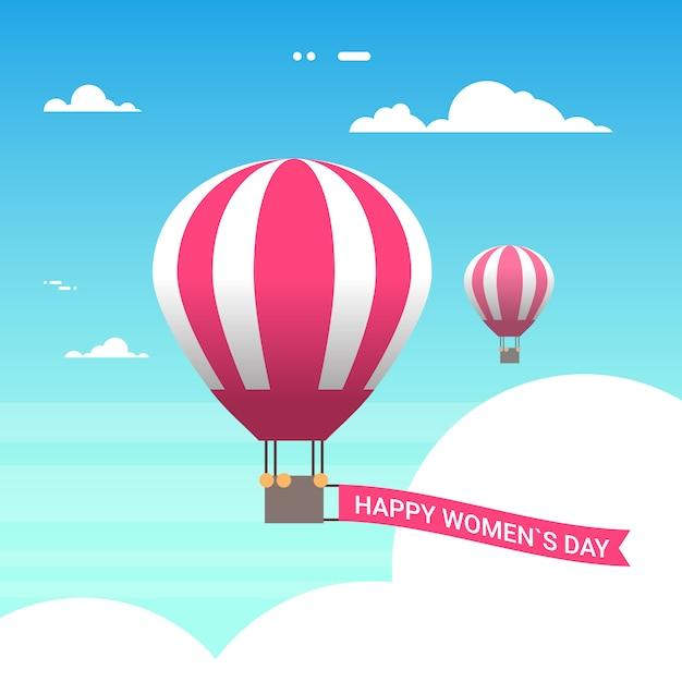 Aerostato di aria rosa in cielo con donne felici giorno 8 marzo cartolina d'auguri in stile retrò Vettore Premium