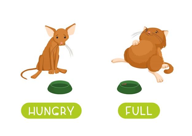 Affamato e pieno. illustrazione per bambini come sussidio didattico Vettore Premium