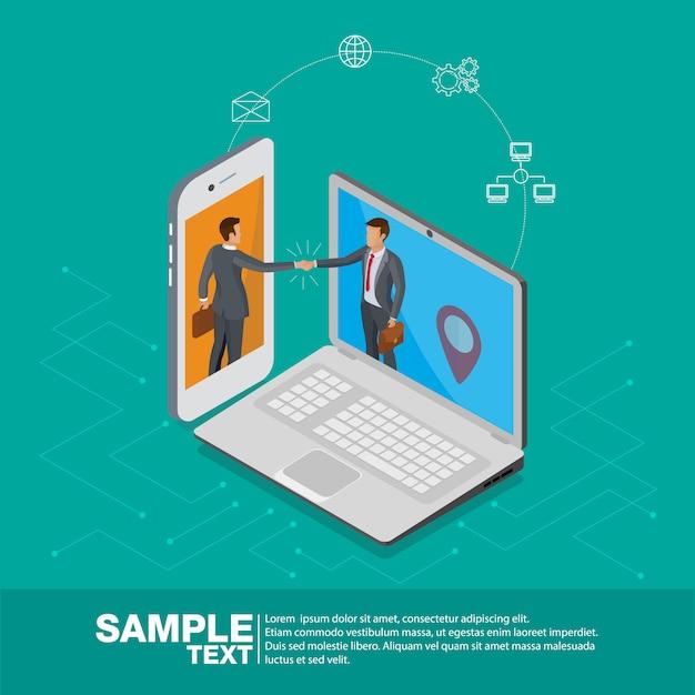 Affare 3d isometrico su cellulare e computer portatile. Vettore Premium