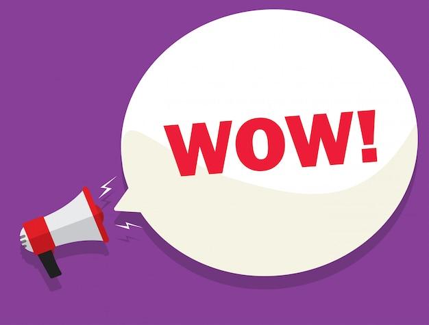 Affare del messaggio di wow dall'illustrazione del megafono Vettore Premium