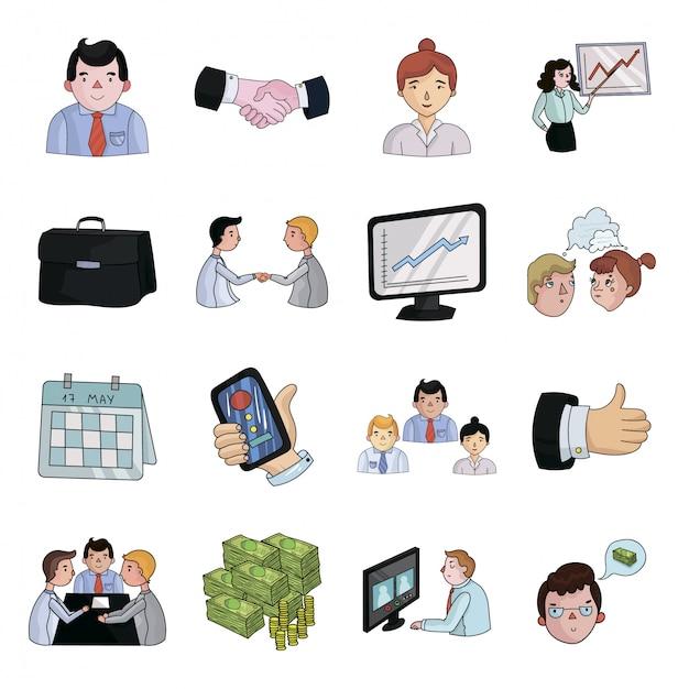 Affare dell'icona stabilita del fumetto di conferenza icona stabilita del fumetto isolata presentazione. illustrazione business della conferenza. Vettore Premium