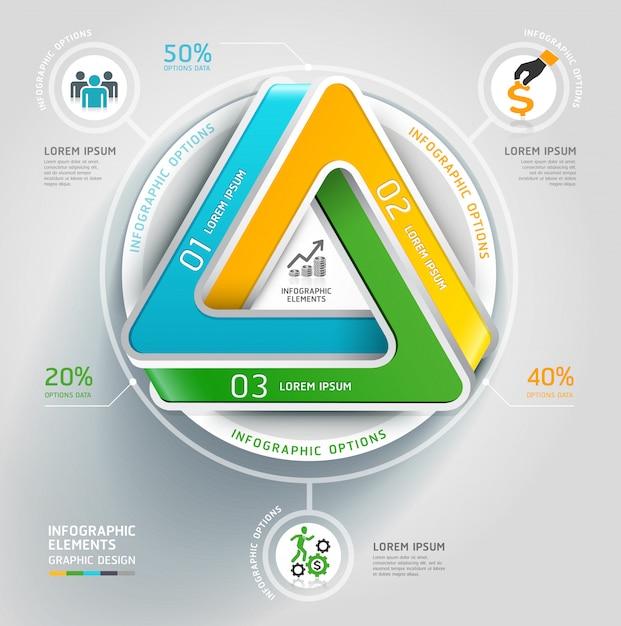 Affare infinito moderno del diagramma della scala del triangolo 3d. Vettore Premium
