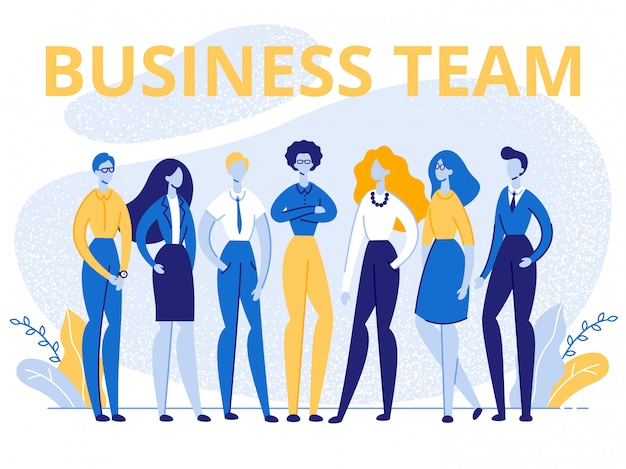 Affare team office employees stand nell'insegna di fila Vettore Premium