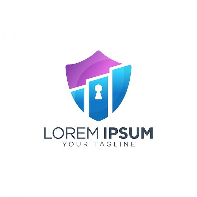 Affari colorati con modello logo scudo Vettore Premium
