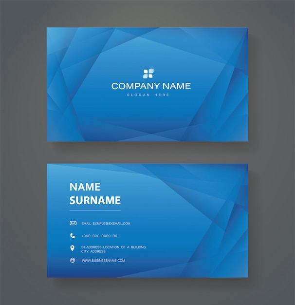 Affari di doppio lato moderno triangolo blu Vettore Premium