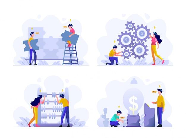 Affari e finanza illustrazione piatta gradiente design stile, puzzle, problem solving, lavoro di squadra, impostazione di gestione del denaro, abaco, calcolo, idea Vettore Premium