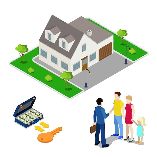 Affari immobiliari. agente di intermediazione che vende casa a una giovane famiglia. persone isometriche. illustrazione vettoriale Vettore Premium