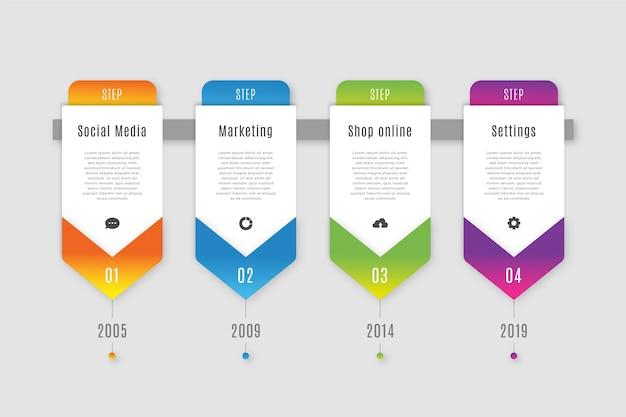 Affari infografica passi in gradiente Vettore gratuito