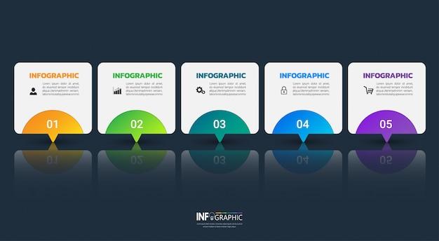 Affari moderni infographic 5 passi Vettore Premium