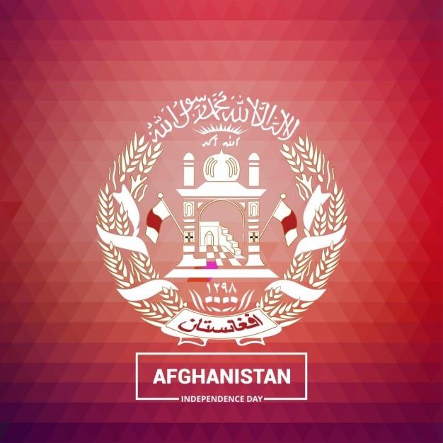 Afghanistan paese simbolo su sfondo rosso Vettore gratuito
