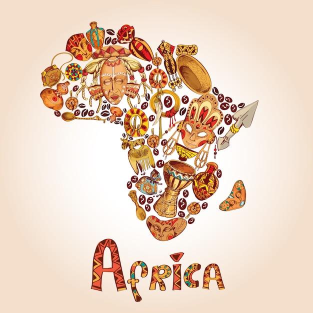 Africa schizzo concetto Vettore Premium