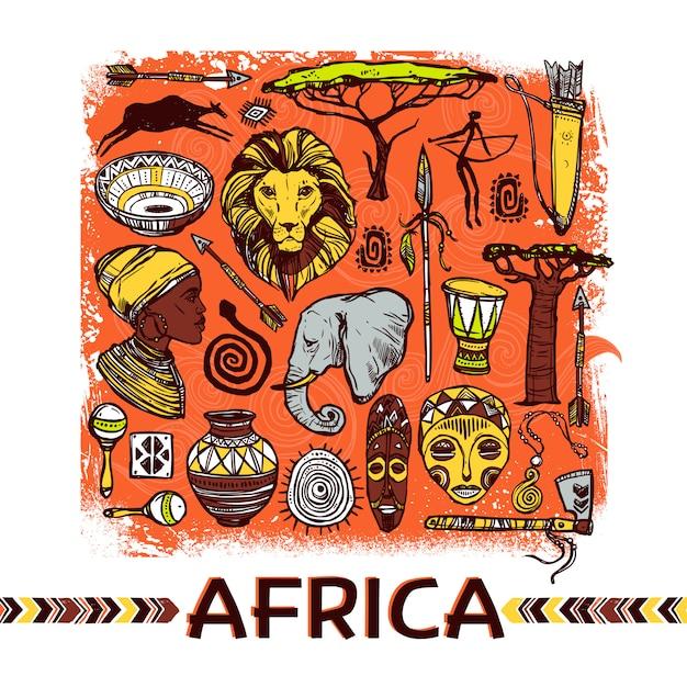Africa sketch illustration Vettore gratuito