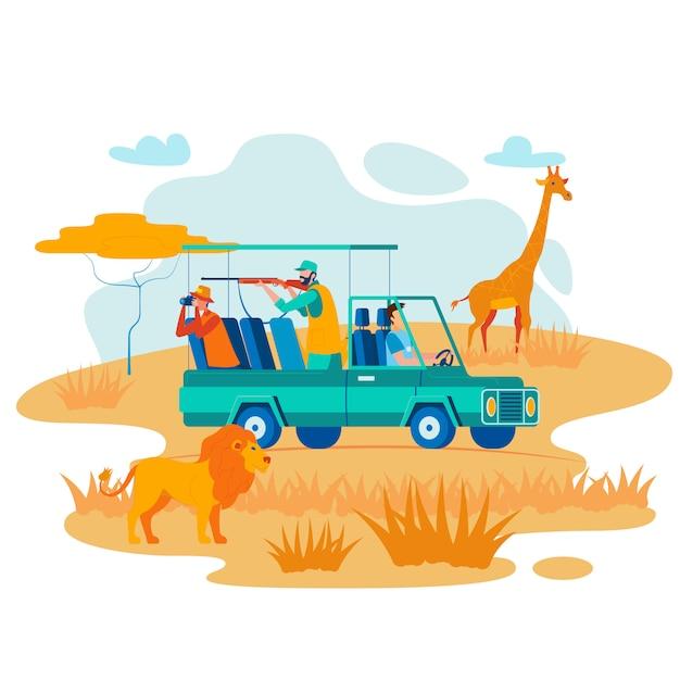 African safari hunting flat vector illustration Vettore Premium