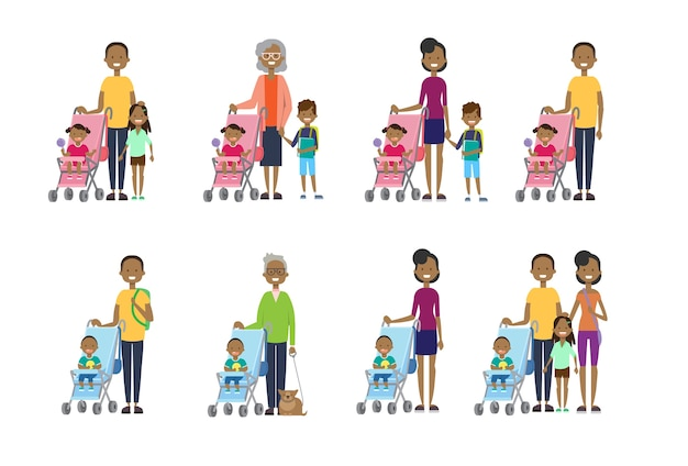 African set madre padre nonna pose diverse Vettore Premium