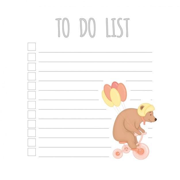 Agenda settimanale per bambini con orso. Vettore Premium