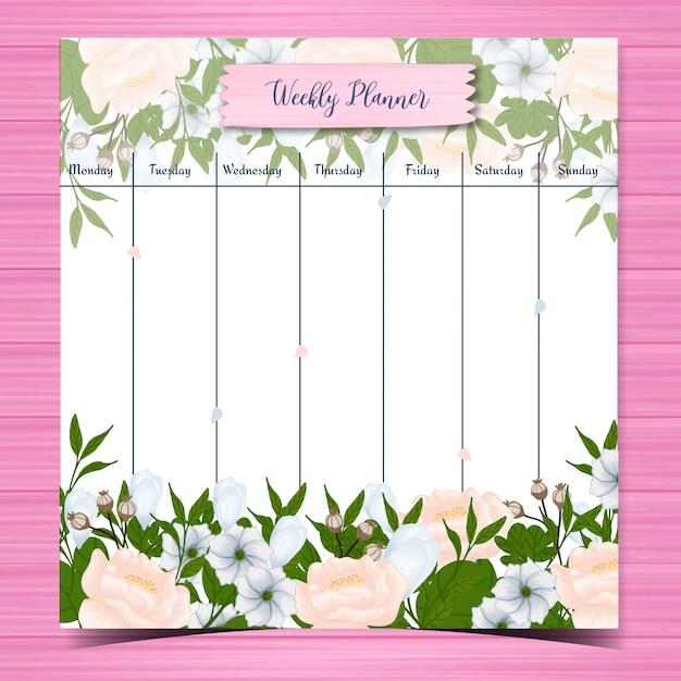 Agenda settimanale per studenti con splendidi fiori bianchi Vettore Premium