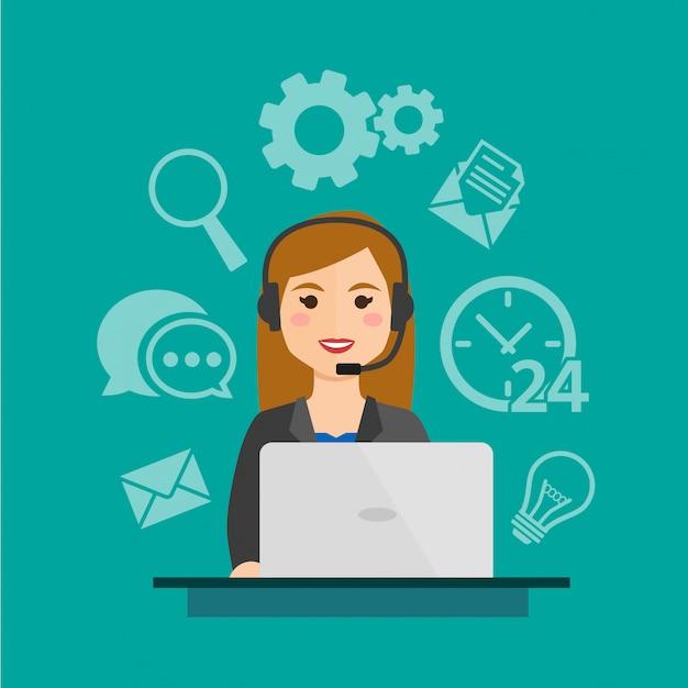 Agente di call center femminile Vettore Premium