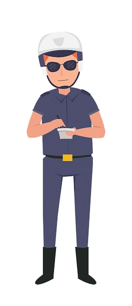 Agente di polizia in servizio in autostrada Vettore Premium