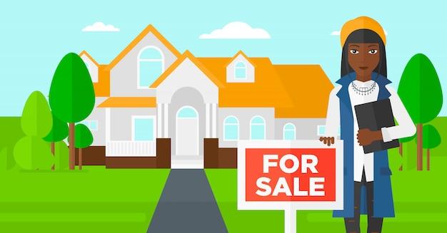 Agente immobiliare che offre casa. Vettore Premium