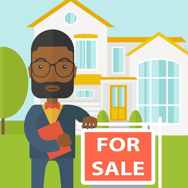 Agente immobiliare. Vettore Premium