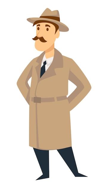 Agente investigativo agente segreto vettore uomo Vettore Premium