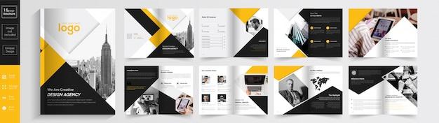 Agenzia creativa di colore giallo e nero. Vettore Premium