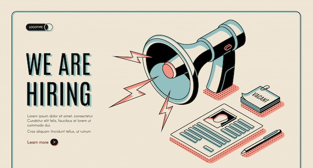 Agenzia di noleggio, offerte di lavoro cerca servizio online banner web isometrico, modello di pagina di destinazione Vettore gratuito