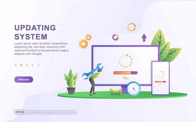 Aggiornamento del concetto di illustrazione del sistema. miglioramento dell'aggiornamento del sistema modifica software di nuova versione, processo di sincronizzazione dei dati e programma di installazione Vettore Premium