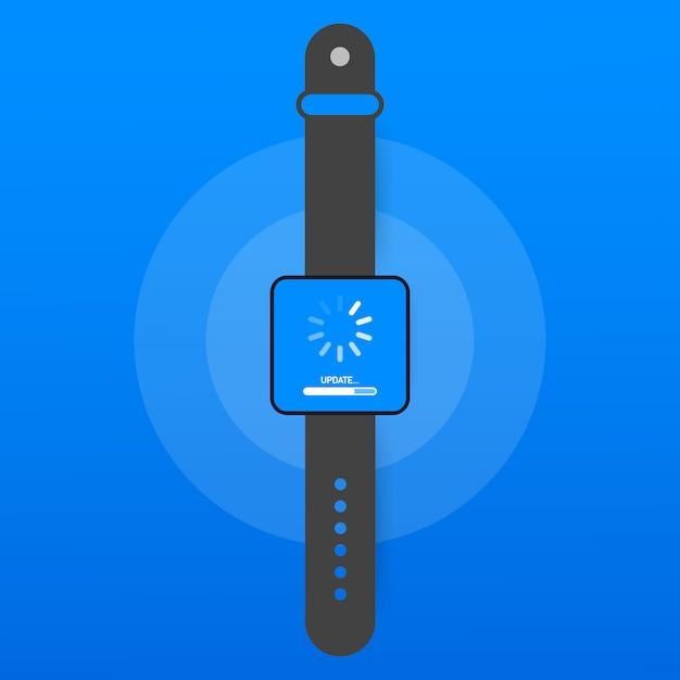 Aggiornamento del software di sistema, aggiornamento dei dati o sincronizzazione con la barra di avanzamento sullo schermo. illustrazione vettoriale Vettore Premium