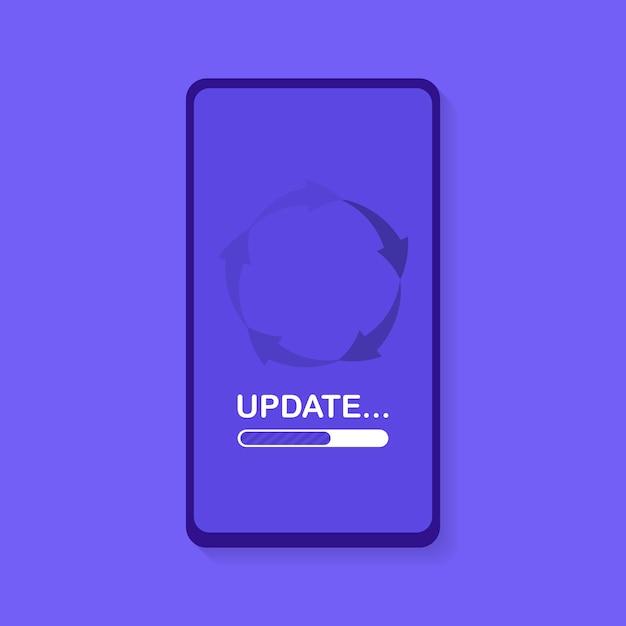 Aggiornamento e aggiornamento del software di sistema. processo di caricamento nella schermata dello smartphone. illustrazione moderna Vettore Premium