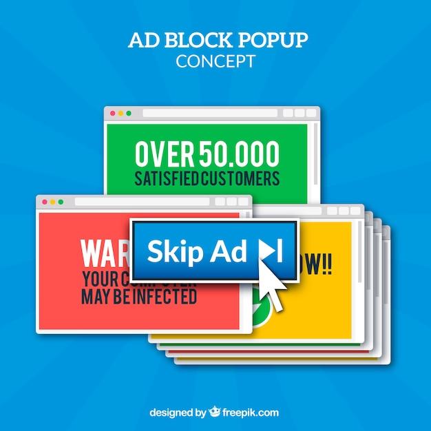 Aggiungi un concetto di pop-up a blocchi con un design piatto Vettore gratuito