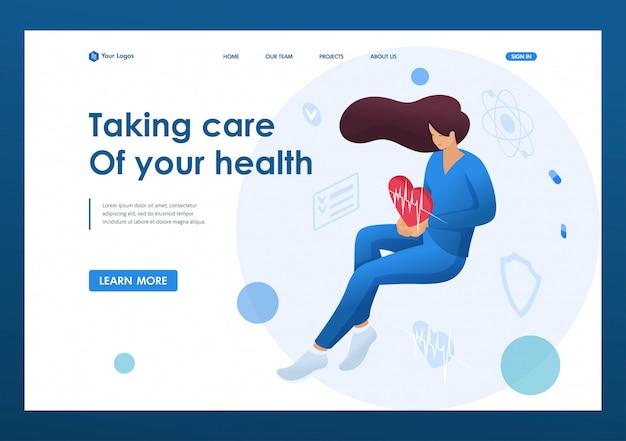 Aggiusti la donna che tiene un cuore pulsante che personifica la cura di circa la salute del paziente. concetto di assistenza sanitaria. concetti sulla pagina di destinazione e web design Vettore Premium