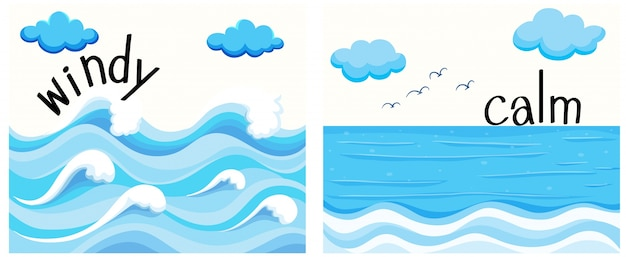 Agli aggettivi opposti con vento e calma Vettore gratuito