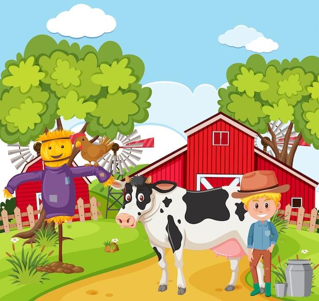Agricoltore che munge la mucca Vettore Premium
