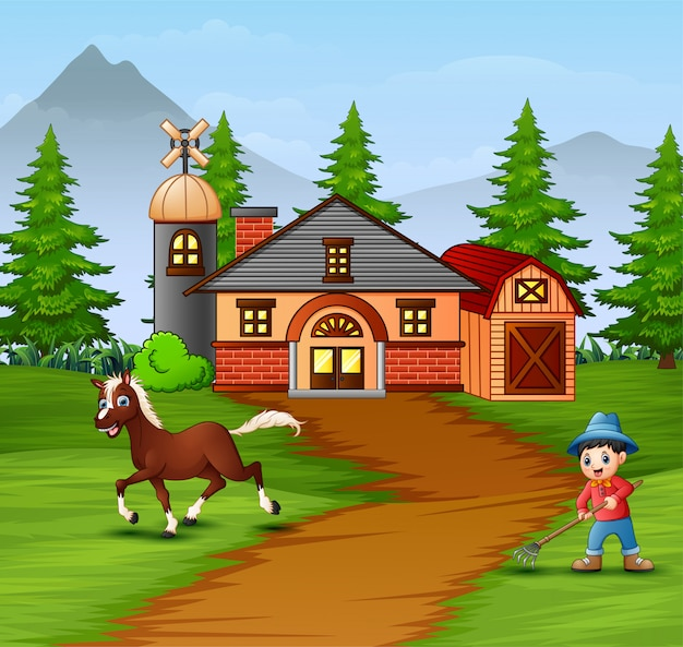 Agricoltore con animali da fattoria nella fattoria Vettore Premium