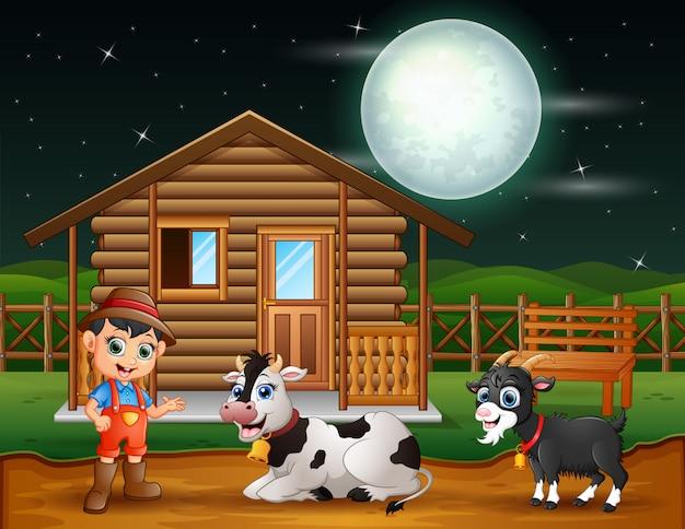 Agricoltore e animale da fattoria nell'aia di notte Vettore Premium