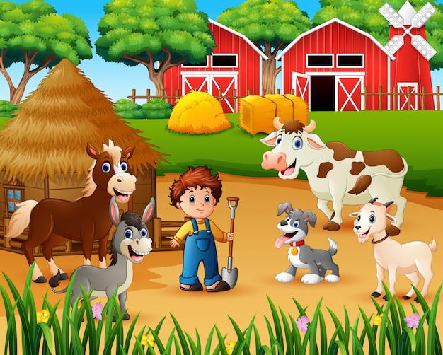Agricoltore e animale da fattoria nell'aia Vettore Premium